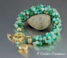 Gold Emerald Chrysoprase Bracelet Handmade by KGeddesCreations