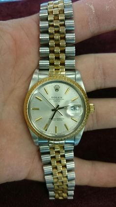 1990 Rolex Date 18k Gold & stainless steel Two tone