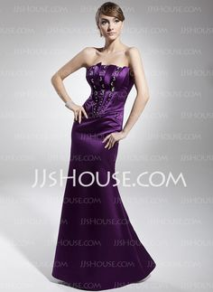 Evening Dresses - $128.99 - Sheath Strapless Floor-Length Satin Evening Dresses With Beading (017014673) http://jjshouse.com/Sheath-Strapless-Floor-Length-Satin-Evening-Dresses-With-Beading-017014673-g14673