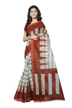 http://www.thatsend.com/shopping/lp/fvp/TESG229168/qf/color[]white  White Silk Casual Saree Apparel Pattern Printed. Work Print. Blouse Piece Yes. Occasion Festive, Sangeet. Top Color Orange.