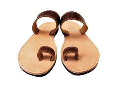 Toe Ring Sandals Barefoot Brown Women Leather Sandals