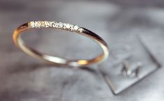 Gold Band with 7 Pave Set Diamonds 14k Gold by ChincharMaloney