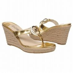 SALE - Michael Kors Palm Beach Thong Wedge Heels Womens Gold - $71.2 ONLY. Was $89.00 - You SAVE $18.00. Gold Wedge Heels, Gold Wedges, Michael Kors Heels, Gold Leather, Palm Beach, Buy Now, Metallic Shoes, Women's Sandals, Stuff To Buy