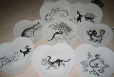 Lin Van Art – Café et thé, motif chats noires Porcelain painting, handmade…