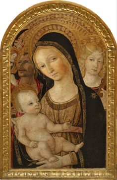 Matteo di Giovanni (1435–1495). Madonna and Child with Saint Catherine and Saint Christoph, 1490-s, 66 x 42 cm. Pushkin Museum.     http://commons.wikimedia.org/wiki/File:Matteo_di_Giovanni_-_Madonna_and_Child_with_Saint_Catherine_and_Saint_Christoph_-_Google_Art_Project.jpg