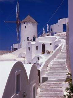 Whitewashed Steps Leading Up to Old Village Windmill, Oia, Santorini Island, Greece