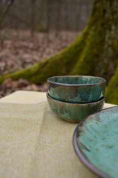 Mint color ceramic bowl set, ice cream bowls, Rustic style housewarming gift, sause dish for couple, witch kitchen Cream Bowls, Ice Cream Bowl, Rustic Ceramics, Wooden Plates, Deep Forest, Dish Sets, Kitchen Witch, Mint Color, Ceramic Cups