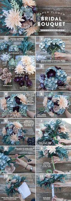DIY Rustic Paper Bridal Bouquet step by step tutorial