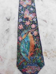 Hand painted silk neck tie - pinned by pin4etsy.com