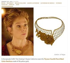 Thyreos Vassiliki creations in Hollywood continue to thrill: Queen Catherine de Medici (magnificently impersonated by Megan Follows) wears a handmade mesh collar necklace by Thyreos Vassiliki / Vassiliki Theodorakidi . Η Αικατερίνη των Μεδίκων υπό την εξαιρετική ερμηνεία της @MeganFollows με χειροποίητο περιδέραιο-δαντέλα Thyreos Vassiliki. Photo: http://fashion-of-reign.tumblr.com/tagged/Thyreos-Vassiliki  Special thanks to: ‪@MeredithMarkworthPollack‬ ‪@ReignCostumes‬ ‪@‎HollywoodJewelry‬