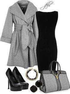 Gray and Black Chic Business Outfit #Chic #Business #Outfit