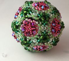Juicy Watermelon Orb / Beaded Bead / Ornament by RoyalJDesigns on Etsy