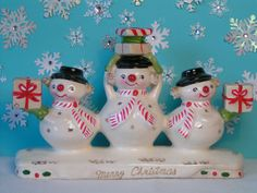 Vintage Holt Howard Snowman Candle Holder by KittyKatDance on Etsy, $95.00. I want this, but too expensive!!