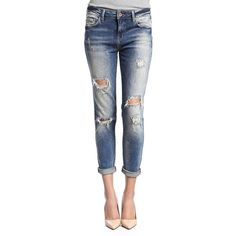 Mavi Distressed Boyfriend Jeans- ($118) ❤ liked on Polyvore featuring jeans, ripped vintage, destructed boyfriend jeans, torn boyfriend jeans, distressing jeans, zipper jeans and 5 pocket jeans