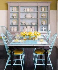I've been thinking about turquoise-ish color for our dining table.
