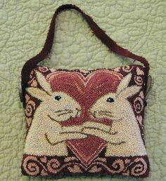 Bunny heart needle punch purse - patterns by teresa kogut Punch Needle Patterns, Rug Hooking Patterns, Hand Hooked Rugs, Craft Punches, Penny Rugs, Wool Applique, Pin Cushions, Pillows, Needle And Thread