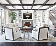 Transitional White Living Room