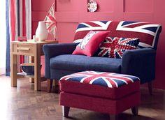 Union Jack loveseat and ottoman. British Decor, British Style, Home Design, Design Ideas, Living Furniture, Home Furniture, England Furniture, Union Jack Decor, Home Interior