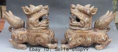 "9""Old Chinese Jade Stone Foo Fu Dog Lion Kylin incense Burner Censer Statue Pair"
