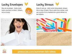 #PTAsocial #summerfair ideas - lucky envelopes, lucky straws. See them at http://www.ptasocial.com/summer-fair-ideas/