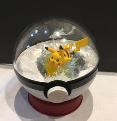Pokeball Diorama with Pikachu Pokeball Terrarium 4 inch Ball