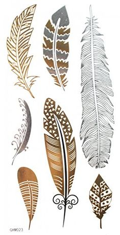 GGSELL GGSELL Metallic Temporary Tattoos Golden Gold Silver Black feather design fashion fake tattoo stickers *** Check out the image by visiting the link.