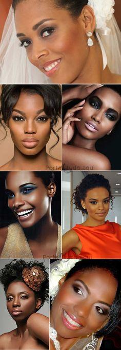 Veja dicas e o passo a passo para fazer uma maquiagem perfeita para mulheres morenas, mulata ou negra. A maquiagem certa pra quem vai se casar, se formar, debutar ou para festa.