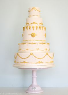 Pink and Gold Baroque Wedding Cake by Rosalind Miller Cakes - London