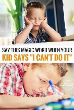"""What's the best parenting strategy when your kid gives up and says, """"I can't do it"""" or """"I'm dumb"""" or other negative self talk? Answering with positive affirmations doesn't work, but here's a simple ONE WORD response that will boost your child's confidence and inspire them to keep trying even after making mistakes. This is so important for teaching a growth mindset! #growthmindset #education #positiveparenting #learning"""
