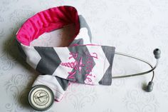 Embroidered RN Stethoscope Cover - Registered Nurse - Dark Gray Chevron with Fuchsia - Made to Order