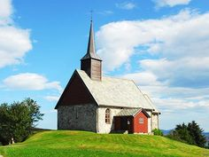 The Edøy old church on the small island Edøy on the mainland side of the large… Kristiansund, Old Churches, Chapelle, Place Of Worship, 12th Century, Small Island, Cathedrals, Temples, All Over The World