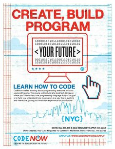 CodeNow Keeps Momentum Going   We have exciting news for high school students in NYC who want to explore the world of computer programming: CodeNow will host another workshop on November 8, 9 & 22! Deadline to apply is Wednesday, October 22, 2014.  Anyone in high school (grades 9-12) is eligible to attend CodeNow.  Our workshops are held at a local tech company over three weekend days. Students work intensively in small groups with experienced engineers to learn how to build games and apps… Ruby Programming, Programming Languages, Computer Programming, In High School, High School Students, Student Work, School Grades, Exciting News, Growing Your Business