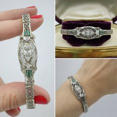 This bracelet is absolutely breathtaking! Made from 14k white gold it exhibits the most beautiful lace-like filigree design. It dates to around 1920, near the end of the Edwardian period, when such delicate filigree forms made up the most desirable jewelry of the day. No doubt this bracelet made some elegant 20s lady very happy! The center panel has a graceful curved contour and coordinating lines within the filigree design. In addition there are five lively diamonds (+/- .15ct tw) that…