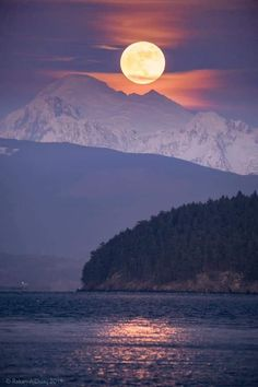 Full moon over north Puget Sound and Mt. Vacation Destinations, Dream Vacations, City Vibe, Best Sunset, Stars At Night, Cool Wallpaper, Great Pictures, Pacific Northwest, Nature Photos