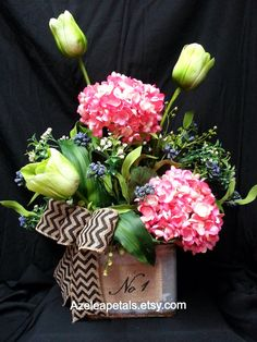 Spring Floral Arrangement Easter Arrangement by Azeleapetals, $69.99