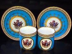 French Sevres Factory Armorial Porcelain Cup and Saucer 1793