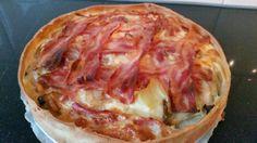 Witlof taart met aardappel en spek
