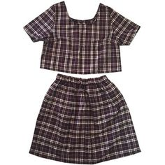 DesignLondon @ etsy (ships from UK) -  Brown Wool Tartan Plaid Co-ord Two Piece Twinset Womens Fashion Clothes Check Short Sleeve Top Skater High Waist Skirt Clothing Style