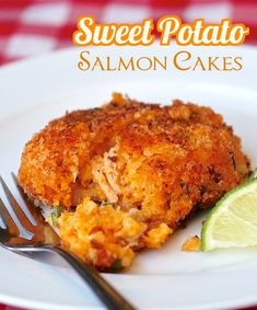 Sweet Potato Salmon Cakes - salmon and sweet potato mash come together with a crispy crumb crust in this deliciously different version of fish cakes. Makes a great first course, a satisfying lunch or even a side for other seafood dishes.