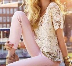 Lace Top + Pink Pants