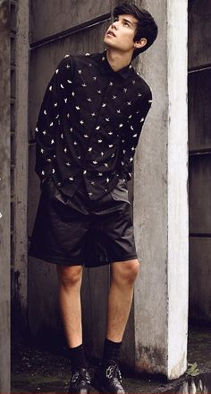 black leather mens shorts
