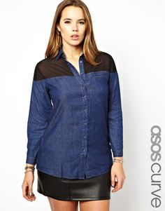 Chambray AND Sheer? Yes, please! ASOS CURVE Exclusive Shirt With Chiffon #plussize Plus Size Fashion