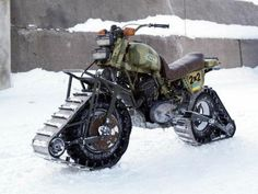 Where there's a will, there's a way. Bike + snow machine parts. Homebuilt 2WD (via thenewcaferacersociety)