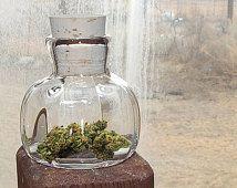 NUG JUG, herb jar, small clear hand blown glass bottle & cork stopper, dispensary display jar, culinary jar herb flask, stash bottle nug jar