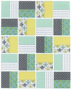 Baby quilt detail Love the colorPosition of the pieced blocks could also vary.How to make a patchwork quilt where the squares are set 'on point' (or on the diagonal).Back of Patrick's quilt Quilting For Beginners, Quilting Tutorials, Quilting Projects, Sewing Projects, Sewing Tips, Sewing Tutorials, Sewing Hacks, Quilting Ideas, Beginner Quilting