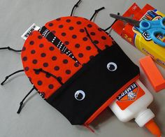 Ladybug Bag School Supplies Zipper Pouch Cute by minnebites, $22.00