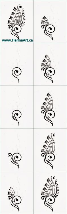Learn to draw this motif as it gets broken down. This is a feather and whispy design for henna and mehndi.