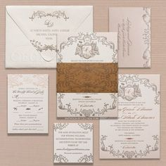 Romantic, travel-inspired wedding invitations featuring a custom globe crest. View more on #CeciStyle (www.cecistyle.com) #cecinewyork #luxuryinvitations #coutureinvitations #woodpaper #rustic #ornate #monogram #beautifyyourworld