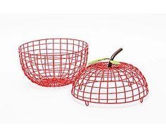 LA CASA DI SELETTI: Cestino portafrutta in metallo Apple rosso - D 30 cm