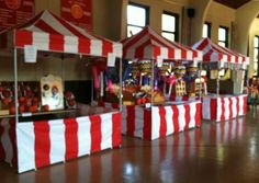 CARNIVAL PARTY... make red/white stripe tablecloths: use white plastic tablecloth, and put red stripes on it.